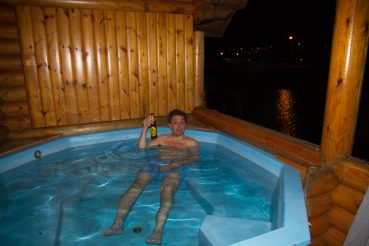 44 degrees in the hot tub; sub zero out of it.